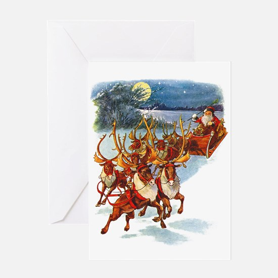 SANTA & HIS REINDEER Greeting Card