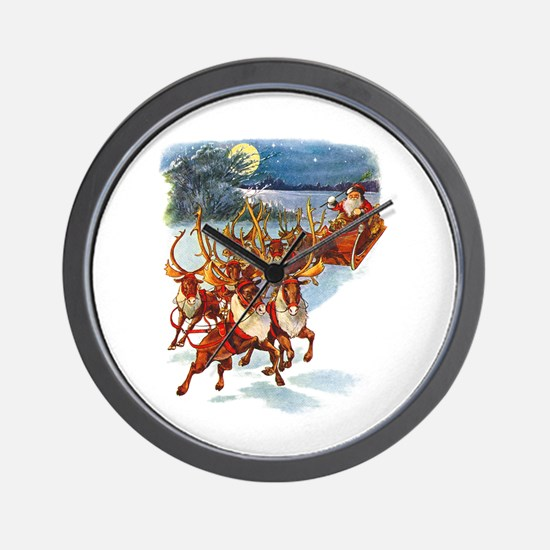 SANTA & HIS REINDEER Wall Clock