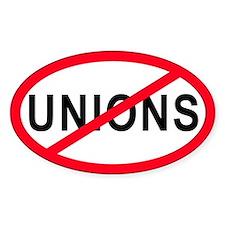 Anti-Unions Oval Bumper Stickers