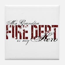 My Grandpa My Hero - Fire Dept Tile Coaster