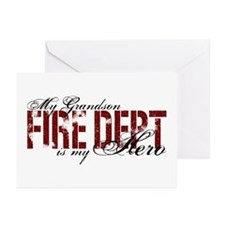 My Grandson My Hero - Fire Dept Greeting Cards (Pk