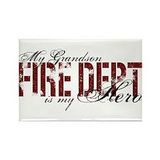 My Grandson My Hero - Fire Dept Rectangle Magnet