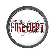 My Grandson My Hero - Fire Dept Wall Clock