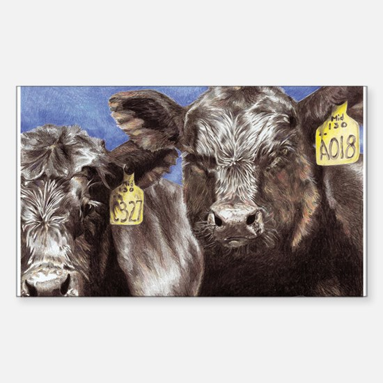 """""""Brothers,"""" Angus Bull Calves Rectangle Decal"""