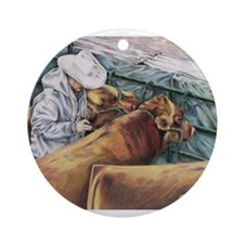"""No Room for Error"" Red Angus Ornament (Round)"