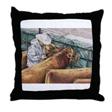 """""""No Room for Error"""" Red Angus Throw Pillow"""
