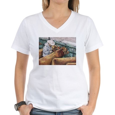 """No Room for Error"" Red Angus Women's V-Neck T-Shi"