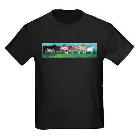 Multi-Breed Cattle Folk Art Kids Dark T-Shirt
