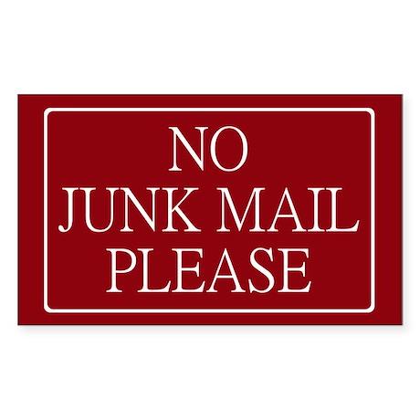 No Junk Mail Sticker (Wide Rectangular)