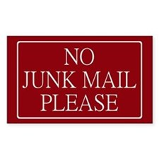 No Junk Mail Sticker (Wide Rectangular)