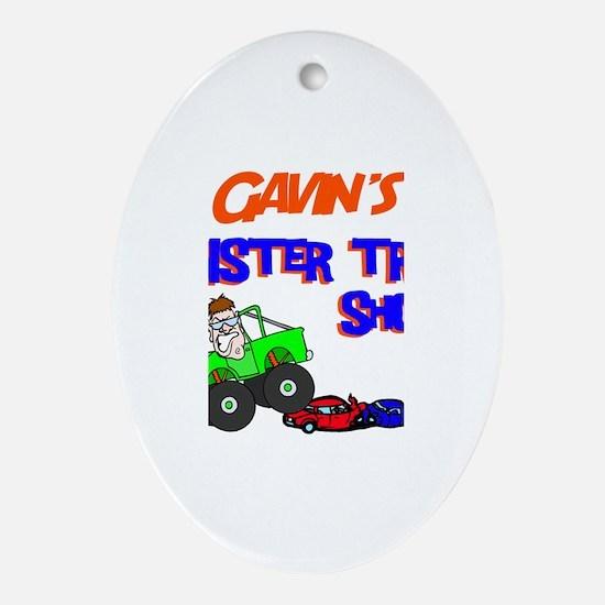Gavin's Monster Truck Oval Ornament