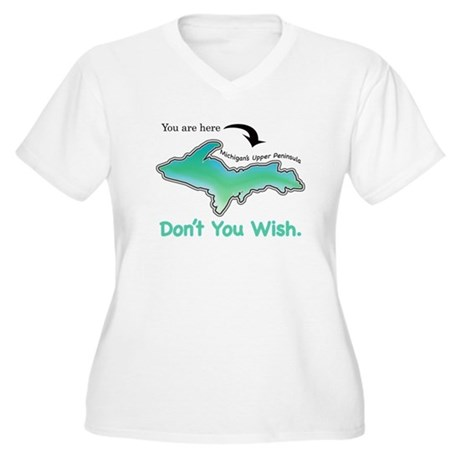 Wish You Were Here Women's Plus Size V-Neck T-Shir