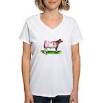 Shorthorn Steer Women's V-Neck T-Shirt