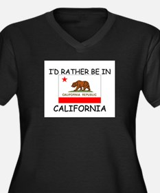 I'd rather be in California Women's Plus Size V-Ne