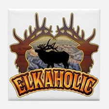 elkaholic elk hunter gifts Tile Coaster