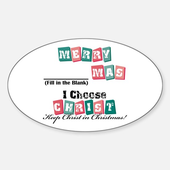 Merry blank mas2 Oval Decal