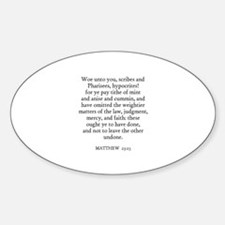 MATTHEW 23:23 Oval Decal