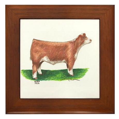 Hereford Steer Framed Tile