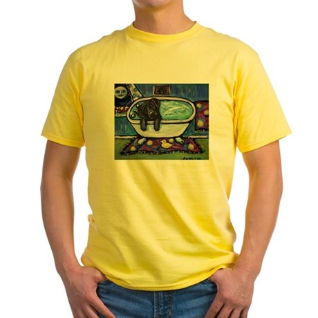 Black Labrador whimsical bath Yellow T-Shirt