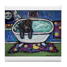 Black Labrador whimsical bath Tile Coaster