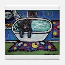 Black Labrador whimsical bath Tile Coaster