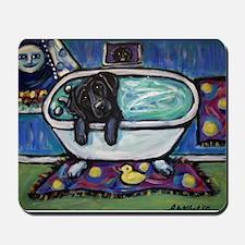 Black Labrador whimsical bath Mousepad