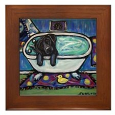 Black Labrador whimsical bath Framed Tile