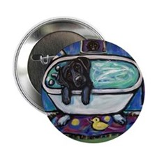 "Black Labrador whimsical bath 2.25"" Button (10 pac"