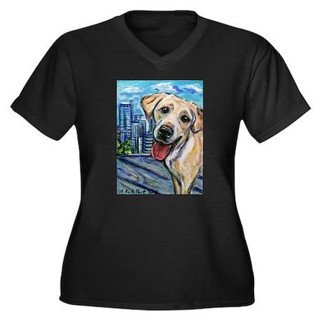 Downtown Dog Women's Plus Size V-Neck Dark T-Shirt