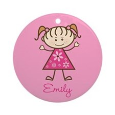 Personalized Stick Figure Girl Christmas Ornament