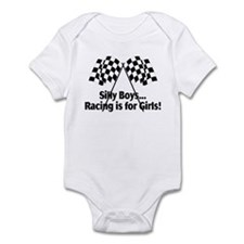 Silly Boys, Racing Is For Girls Infant Bodysuit