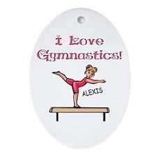 I Love Gymnastics (Alexis) Oval Ornament