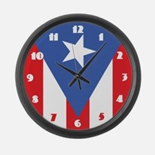 Puerto Rico Flag Large Wall Clock