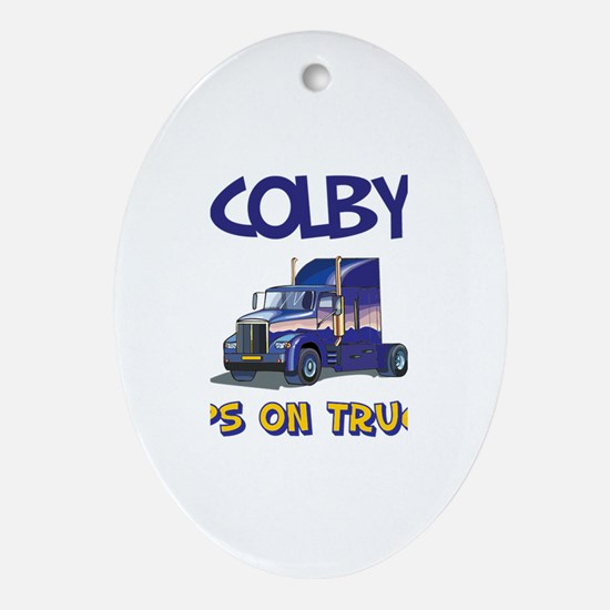 Colby Keeps on Truckin Oval Ornament