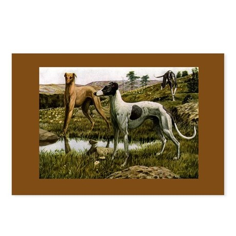 Three Greyhounds Postcards (Package of 8)