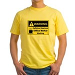 Caffeine Warning Office Worker Yellow T-Shirt