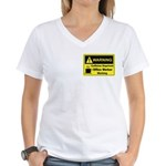 Caffeine Warning Office Worker Women's V-Neck T-Sh