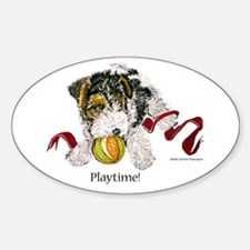 Fox Terrier Puppy Oval Decal