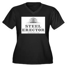 Steel Erector Women's Plus Size V-Neck Dark T-Shir