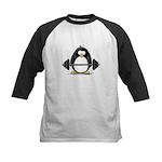 Weight lifting penguin Kids Baseball Jersey
