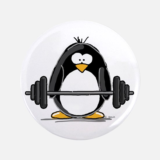 "Weight lifting penguin 3.5"" Button"
