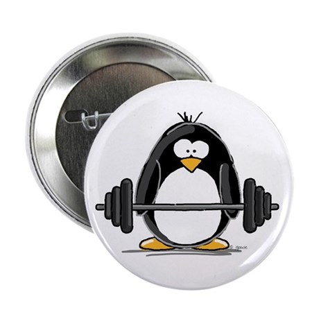 "Weight lifting penguin 2.25"" Button"