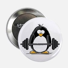 """Weight lifting penguin 2.25"""" Button"""