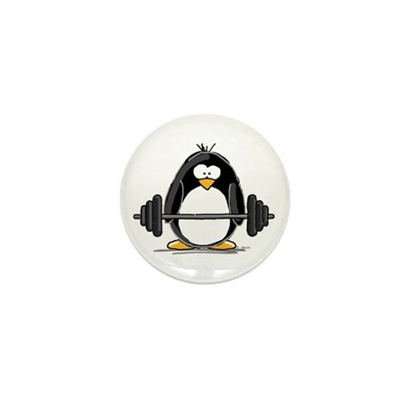 Weight lifting penguin Mini Button