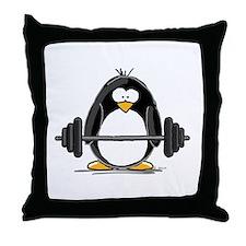 Weight lifting penguin Throw Pillow