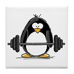 Weight lifting penguin Tile Coaster