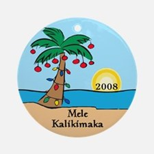 Palm Tree Dated Hawaiian Christmas Ornament