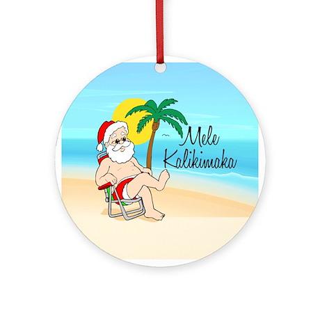 Tropical Santa Hawaiian Christmas Ornament