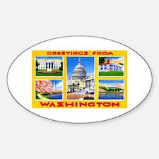 Washington DC Greetings Oval Bumper Stickers