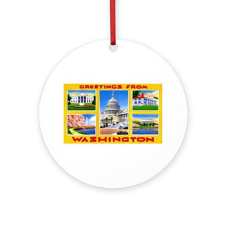 Washington DC Greetings Ornament (Round)
